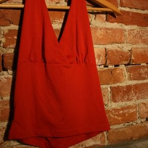 Armani Exchange Red Halter Crop-Top